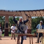 Mexican poet Javier Sicilan destroyed a gun during the Caravan for Pace this summer, 2012.
