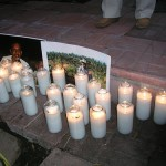 Candlelight vigil at East Los Angeles Church for Caravan for Peace