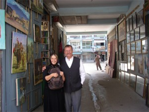 Patty Idler with Shop Keeper in Kabul