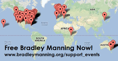 Map of upcoming events in support of Wikileaks whistleblower Bradley Manning.