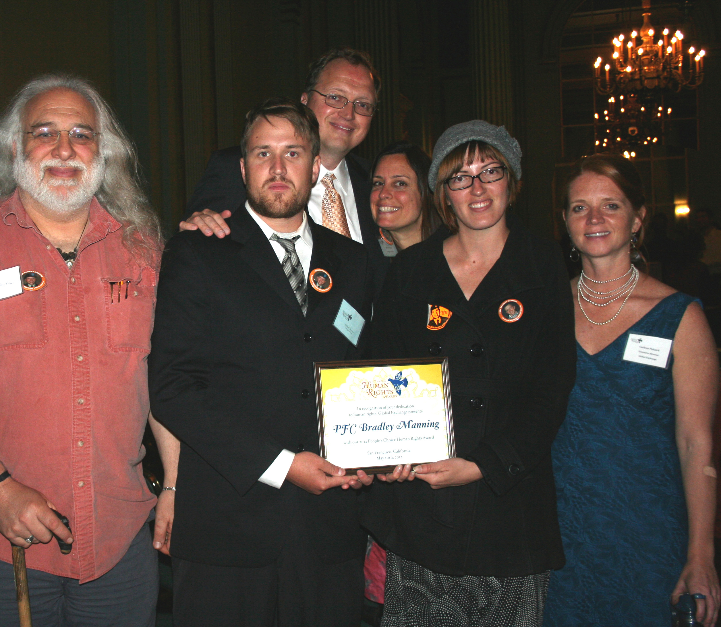Bradley Manning Support Network guests with People's Choice Award and Carleen Pickard