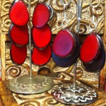 Tagua Earrings in Brilliant Ruby Reds