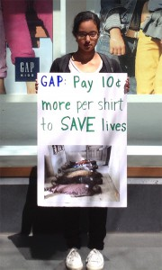Beilul Naizghi protesting in front of GAP during its shareholder meeting last week