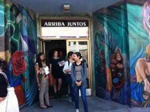 The group entering Arriba Juntos - photo by Bryan Weiner