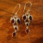 Fair Trade Sterling Silver and Garnet Chandelier Earrings