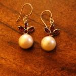 Fair Trade Sterling Silver Pearl and Garnet  earrings handmade in Bali