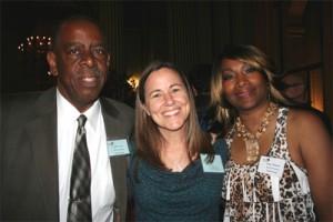 Annie Leonard (c) with Global Exchange board members Walter (l) and Wanda (r)