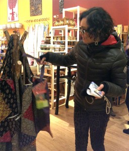 New Global Exchange member picking out her new Eco-Shopper Dec/ 2013