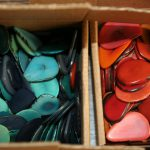 Tagua seeds thinly sliced, dyed and ready to be made into jewelry