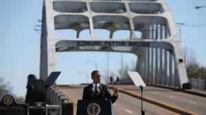 President Barack Obama speaks in front of the Edmund Pettus Bridge (Photo credit: CNN)