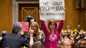 CODEPINK protesters at Congressional hearing on Iran. Photo: CODEPINK