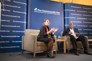 Ms. Kenia Serrano speaking at the Commonwealth Club with Walter Turner, President of the Board of Directors of Global Exchange.