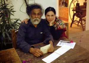 Chelis at the Graphic Arts Institute of Oaxaca (IAGO) with artist and Institute founder, Francisco Toledo